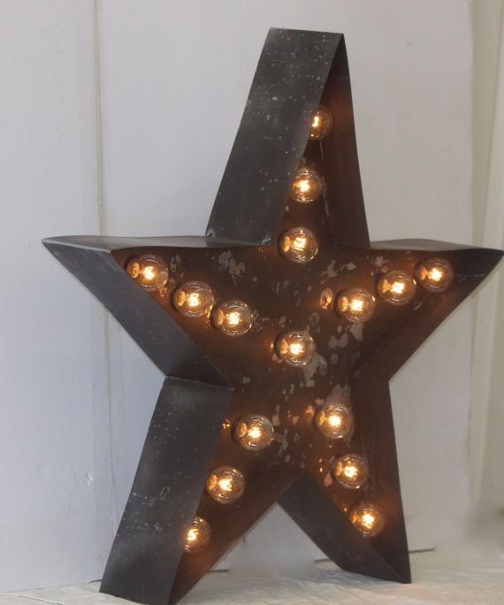 large old vintage style marquee star metal steelwedding birthday home logo business decor