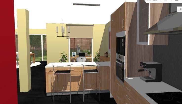 """Opción 4 - Vista desde el """"interior"""" de espacio de la cocina hacia el patio, con la barra de separación con el comedor en primer término."""