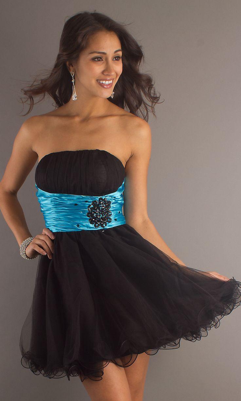 Popular Short Black Turquoise Formal Dress Strapless Tulle ...