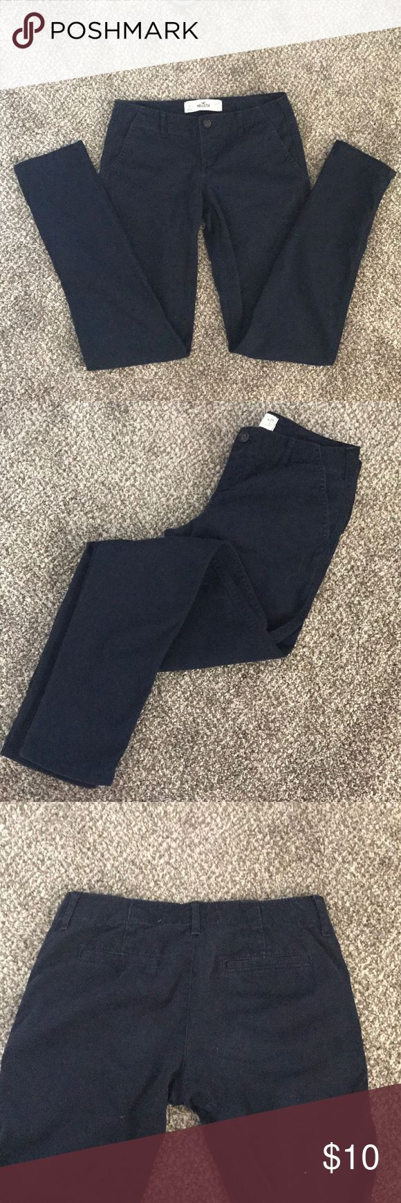 Navy Blue Hollister Chinos Barely worn slim leg navy blue chinos by hollister. Hollister Pants Trousers