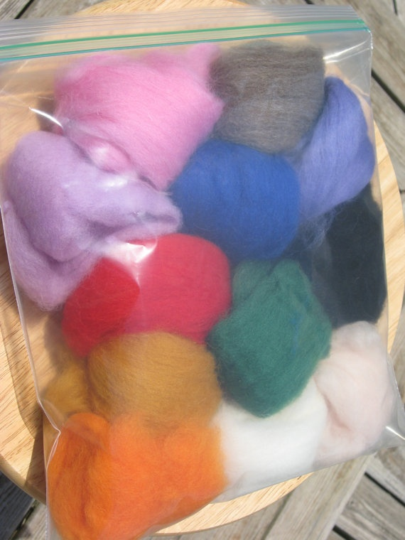 Set of 12 colors of felt for your needlefelting by ginasfeltshop, $12.00