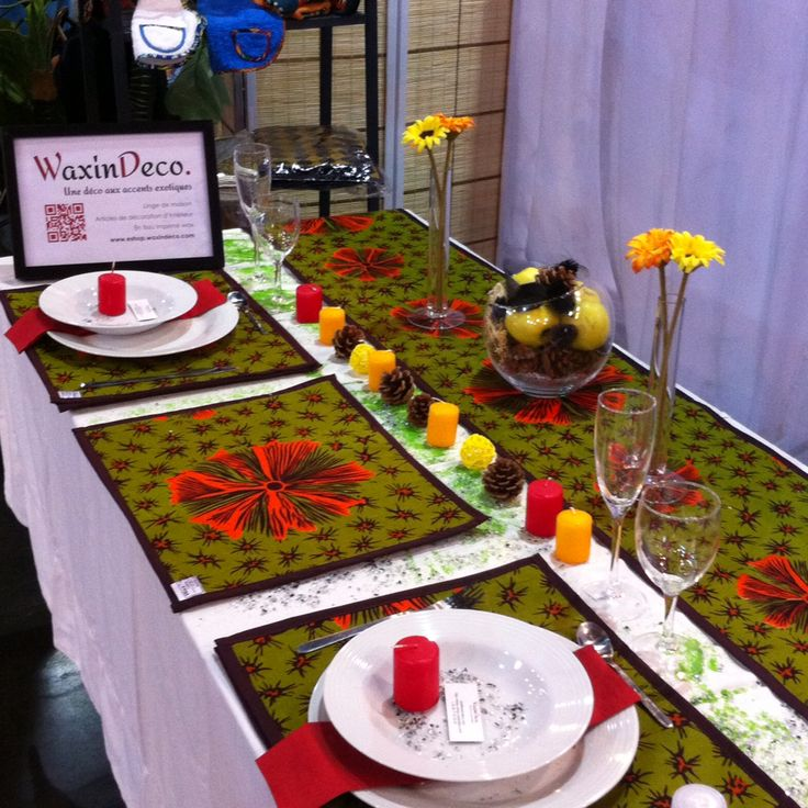WaxinDeco / ankara table set / mat with Wax / placemat with ankara /homedeco / chemin de table / set de table