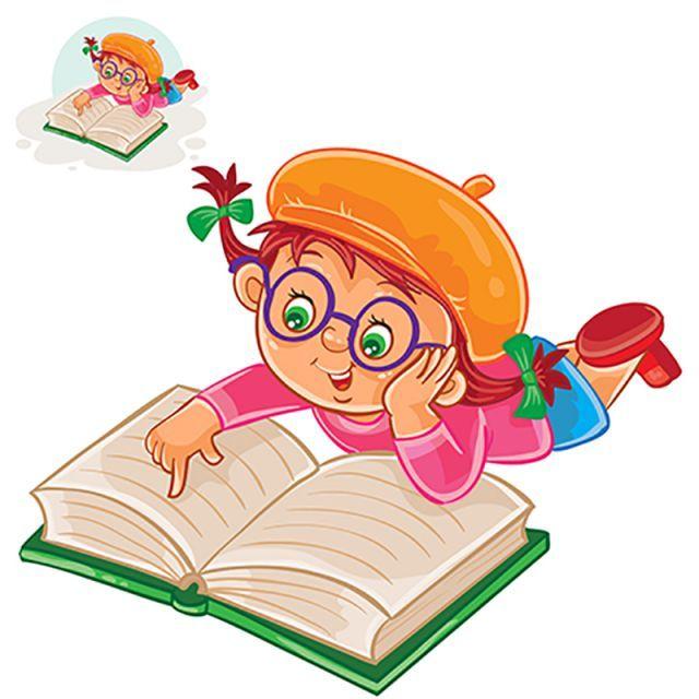 Devochka Chitaet Knigu Lezha Na Zhivote Vektornoe Izobrazhenie I Png Resurs Kids Art Projects Preschool Designs Reading Cartoon