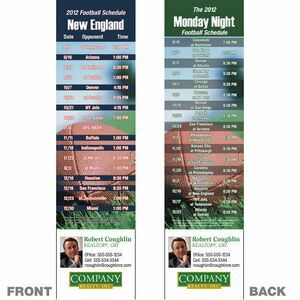 "New England Pro Football Schedule Bookmark (2 1/4""X8 1/2"")"