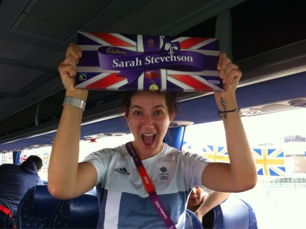 Sarah Stevenson receives her Cadbury's Dairy Milk