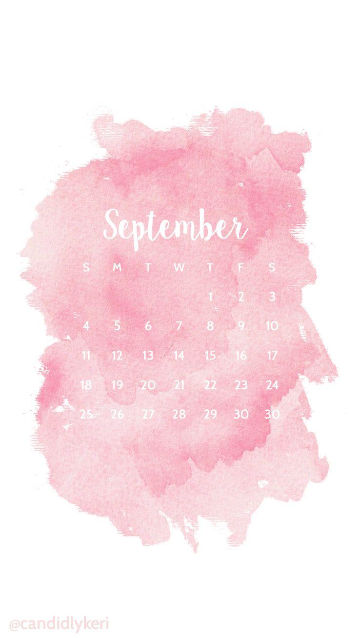 Pink blush watercolor September calendar 2016 wallpaper ...