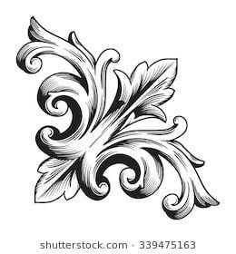 Vintage baroque frame scroll ornament engraving bo…