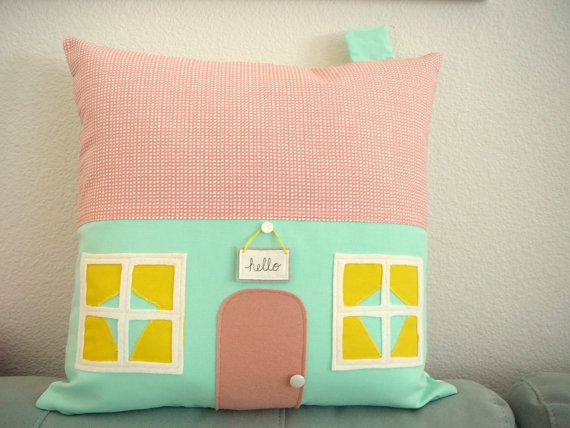 Mint Avenue House Pillow  Pillow Cover  by OliveHandmade on Etsy