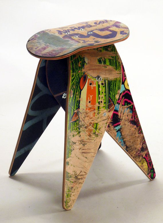 New Recycled Skateboard Stool 204 Skateboard Etsy And