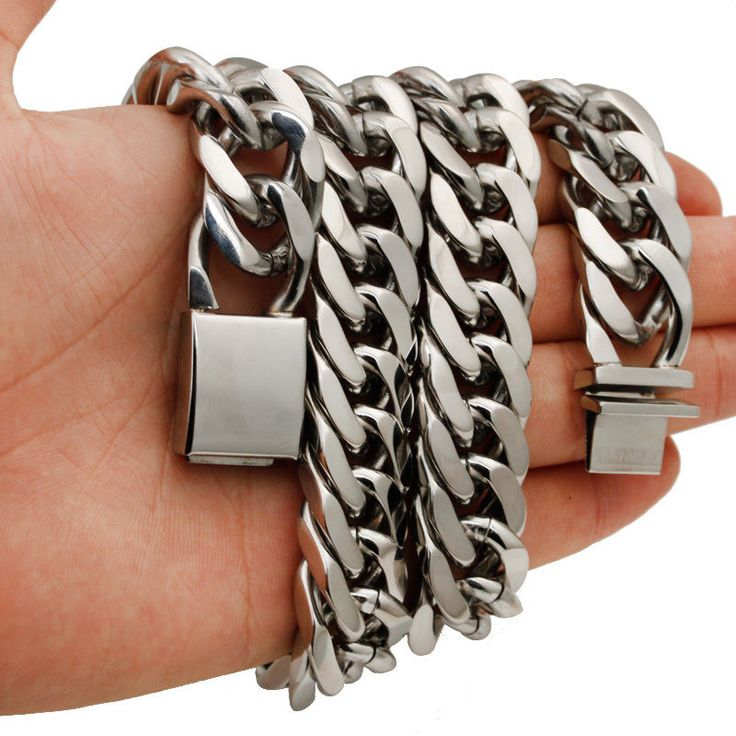 men's jewelry silver tone stainless steel wide heavy special clasp necklace 15mm #Unbranded #Chain