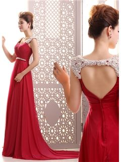Courtlike A-Line Straps Pearls Beading Backless Court Train Long Evening Dress