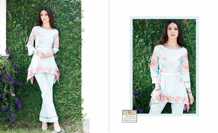 #Womens #Fashion #Pakistani #Designer #Suits #Haute #Couture for #work - #Sky #Blue #Shirt #Sky #Blue #Bottom #Embroidered #premium #lawn #Kurtis