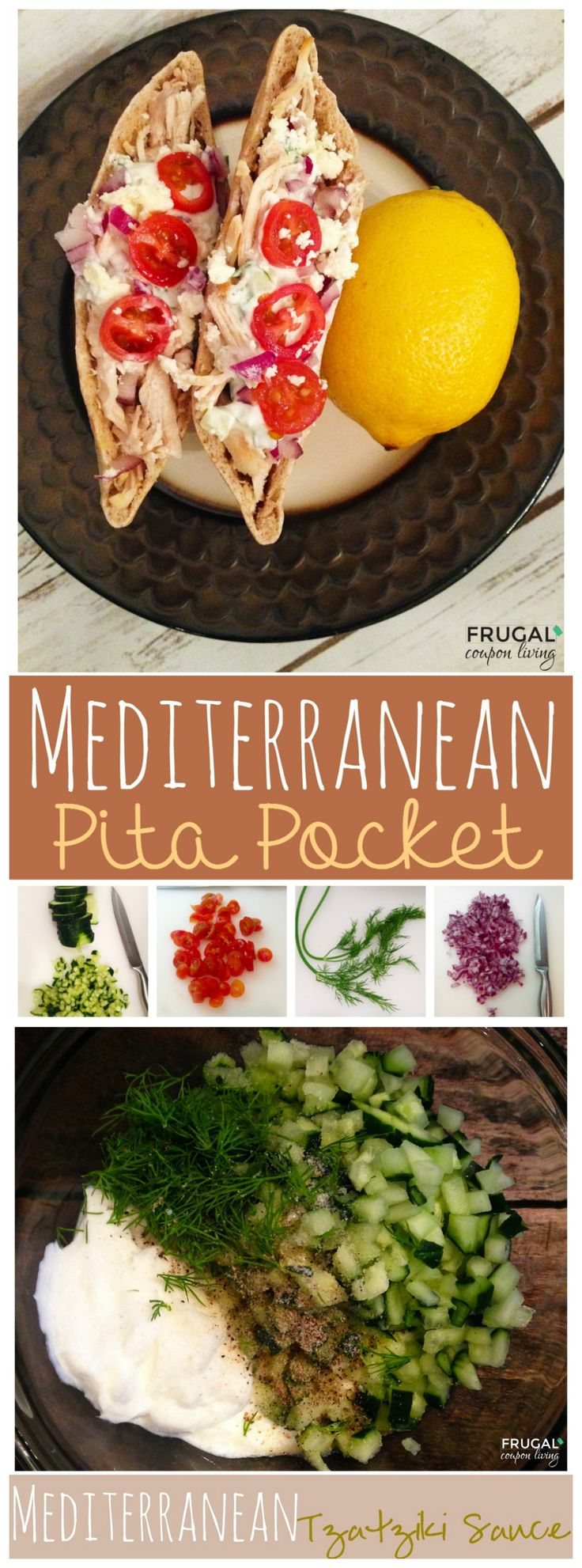 Mediterranean Pita Pocket with  homemade Tzatziki Dressing. Such a sweet, fresh treat! Details on Frugal Coupon Living.