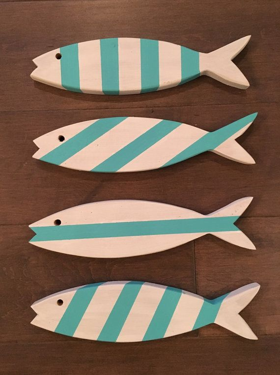 Hey, I found this really awesome Etsy listing at https://www.etsy.com/listing/455384258/set-of-4-wooden-fish-wooden-painted-fish