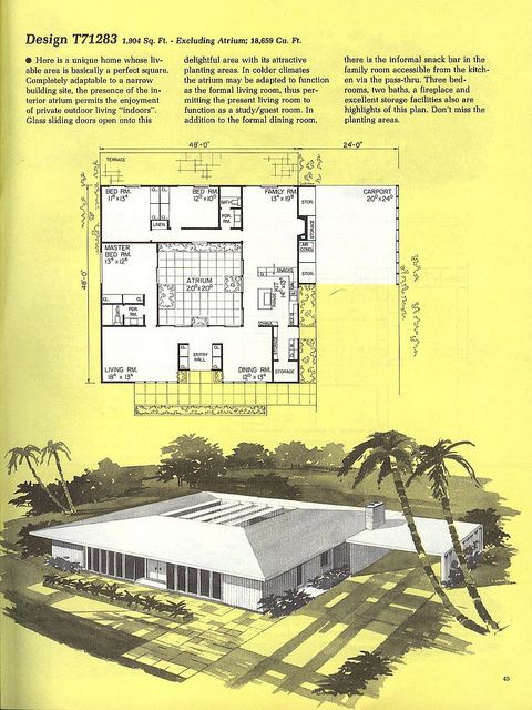 central courtyard plan - vintage