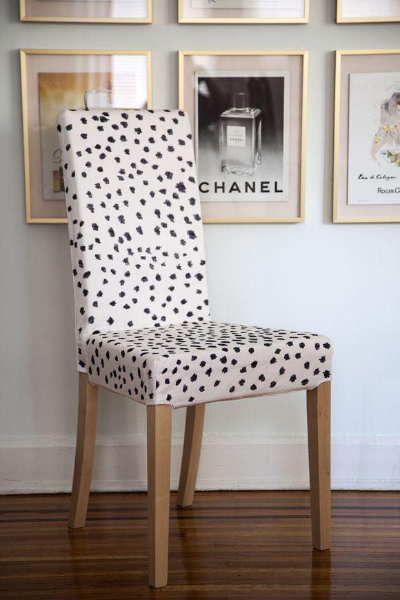 sharpie dots - but in gold on white curtains