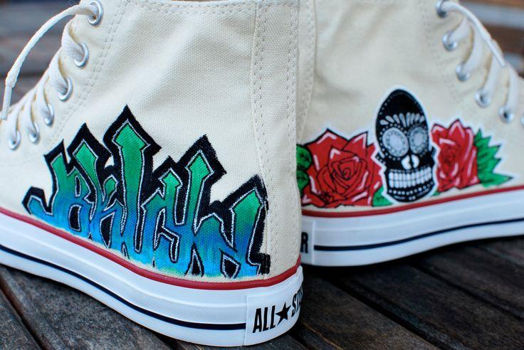 Dia De Los Muertos Skull and Roses BKLYN graffiti custom hi top Chuck Taylor Converse