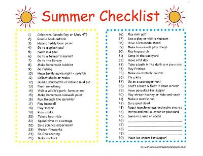 Summer Checklist {with free printable}... #50 is my favorite!