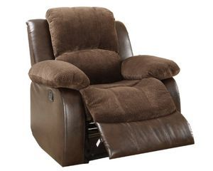 Homelegance 9700FCP-1 Upholstered Recliner Chair, Dark Brown Textured with Plush Microfiber and Faux Leather