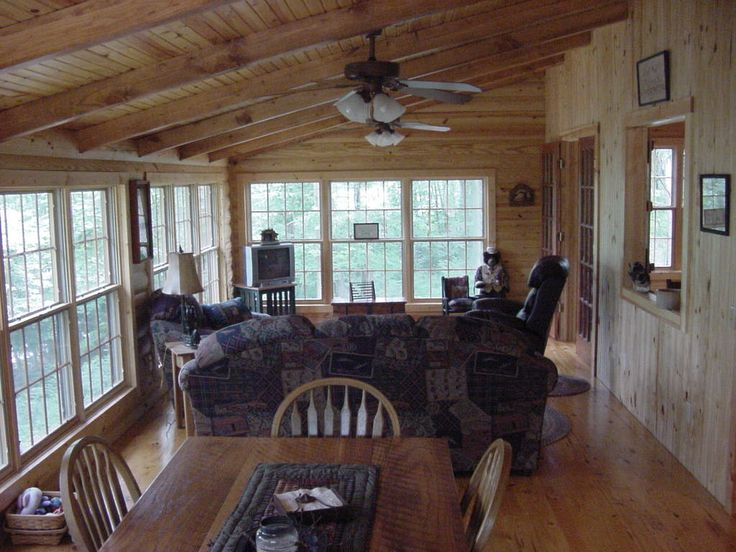 Diy sunroom plans for the home pinterest for Log cabin sunroom additions
