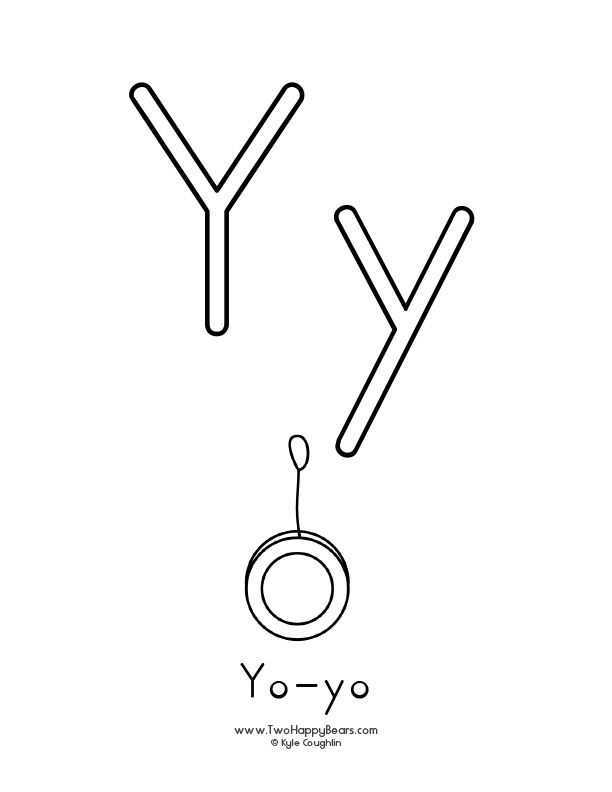 Free printable coloring page for the letter Y, with upper