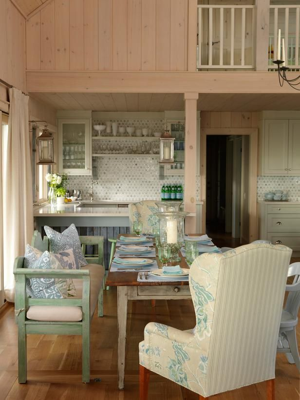 Pickled paneling + tile backsplash: Sarah Richardson, Dining Rooms, Cottages Kitchens, Wings Chairs, Color, Kitchens Updates, Dining Tables, Beaches Cottages, Gardens Benches