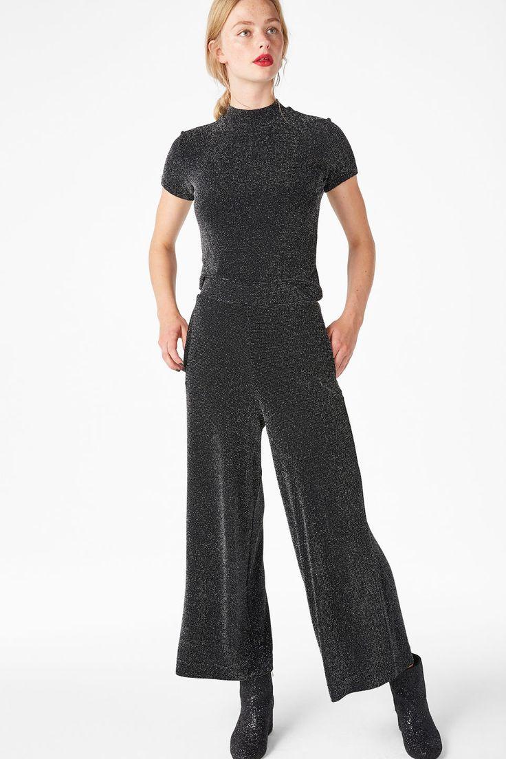 Wide swing trousers - silvery metallic - Trousers & shorts - Monki BE