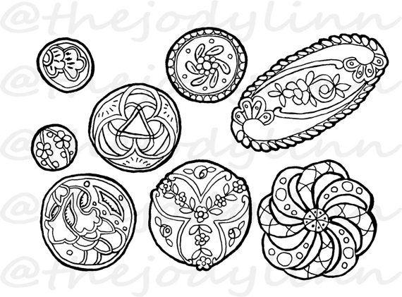 Museum Drawer: Waistcoat Buttons 4. Instant Download Digital Stamp Bundle. Line Art Illustration for Cards and Crafts