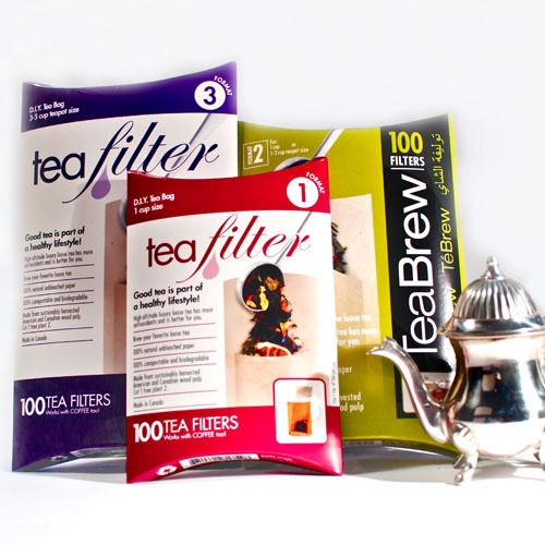 Made in Canada; an unbleached paper product that is 100% compostable and biodegradable; each sac holds enough loose leaf tea for 1-3 cups. A package of 100 Tea sacs.