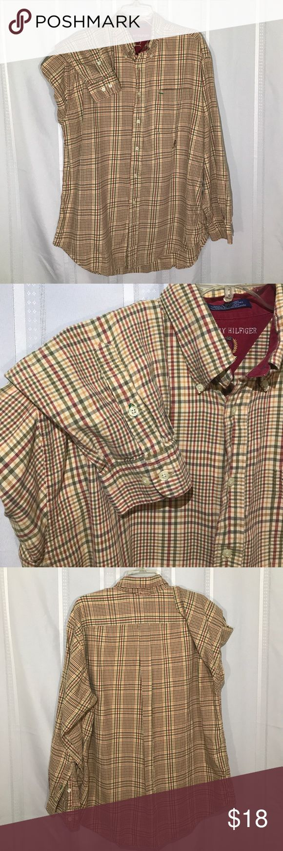 """TOMMY HILFIGER Tan/Green/Red Plaid Flannel Shirt L Warm earth tone Flannel shirt has Corduroy lined collar. Single chest pocket with embroidered insignia below. Good used condition without stains or blemishes. Length (back) 32"""", Sleeve 33-1/2"""" Tommy Hilfiger Shirts Casual Button Down Shirts"""