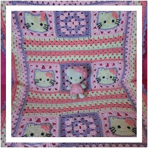 FREE CROCHET PATTERN @ Ravelry: Hello Kitty Baby Blanket pattern by CreativeCrochetWorkshop