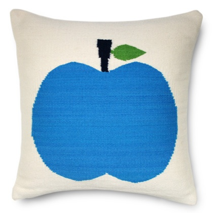 blue apple pillow: Apple Pillows, Blue Food, Fruit Pillows, Apples Pillows, Custom Wool, Blue Apples, Adler Blue, Jonathan Adler, Wool Fruit