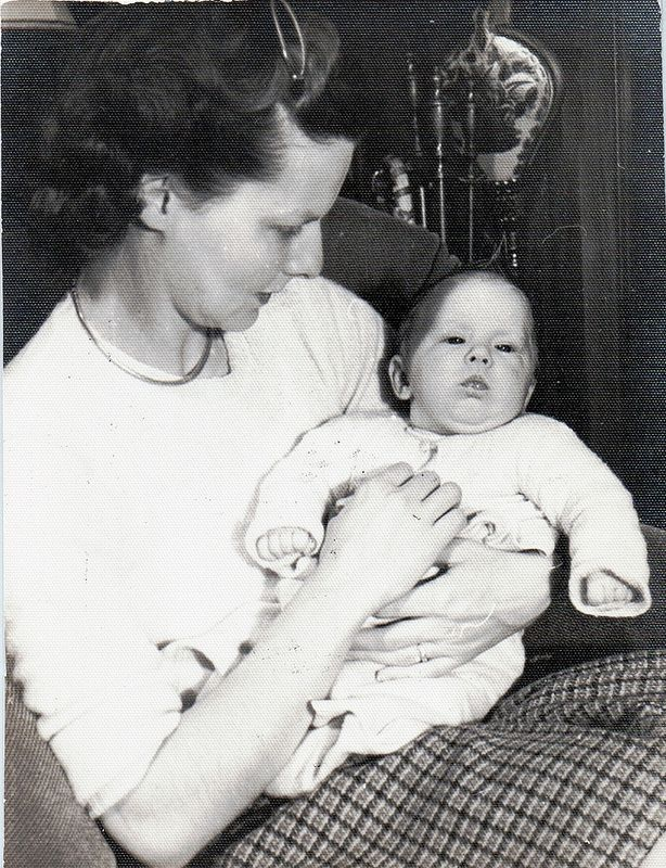 Mom with me. I am aged 2 months