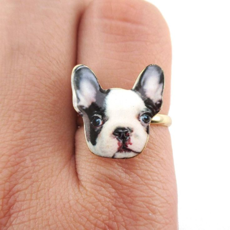 Black and White French Bulldog Puppy Shaped Adjustable Ring | Animal Jewelry