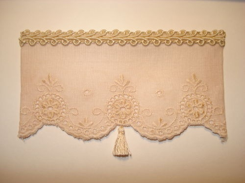 Tea Stained Antique Style Dollhouse Curtains W Tassel