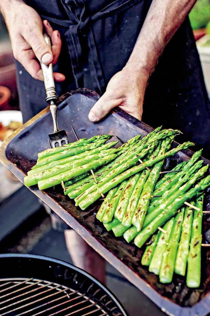How to Grill Asparagus | Bryan Calvert  (Thanks to this nifty trick you'll never again watch your pricey asparagus spears slip through the grill rack and into oblivion.)
