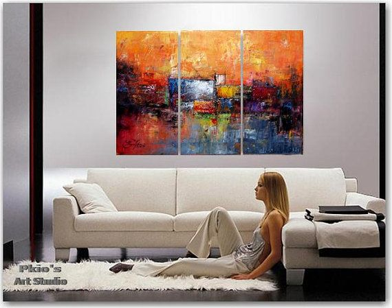 Dream I  - contemporary oil painting - 70x100cm, 27,5x39,4in 3 panels
