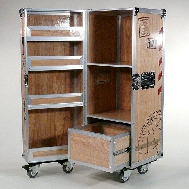Flugzeugtrolley als Wein-Schrank, MultiCase Wood Wine Crate, - Design Flightcase, Wine cabinet design