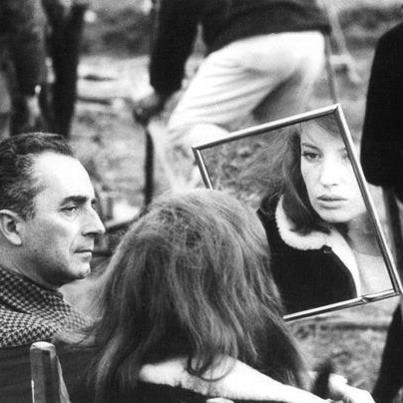 """Monica Vitti & Michelangelo Antonioni (""""Il deserto rosso"""" set)"""