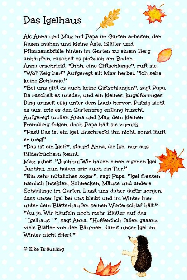Das Igelhaus im Garten  Herbst  Geschichten fr kinder
