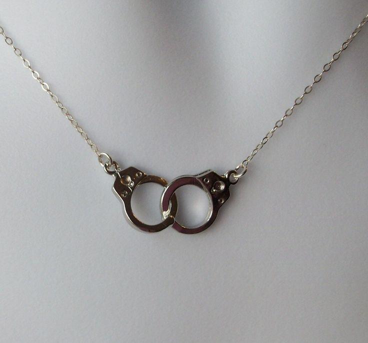 Silver Handcuff Necklace - Handcuff Pendant Necklace - Sterling Silver Necklace - Handcuff Steampunk Necklace - Steampunk by WanderingDandelion on Etsy https://www.etsy.com/listing/151066749/silver-handcuff-necklace-handcuff