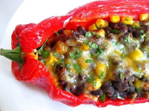 spicy black bean stuffed pepers healthy-recipes