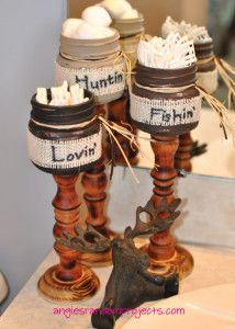 These Rustic Painted Mason Jars with Burlap ribbon are the perfect accessory for any home décor project! Use them for candy dishes, wedding center pieces, with tea light candles, bathroom accessories, jewelry holders, etc. DIY with simple steps and make it your own at angiesrandomprojects.com