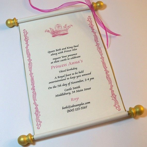 YES!!! Perfect princess party invite. Pink, Gold, and White - Check. Scroll - Check. Crown - Check. I have different wording done. Plus, if I play my cards right, totally diy and can be mailed in a decked out pringles can :D So happy right now!!