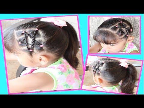peinados sencillos faciles para cabello largo bonitos y rapidos con trenzas para niña mariposa#33 - YouTube
