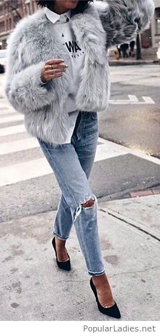 Shirt and blouse, fur and jeans