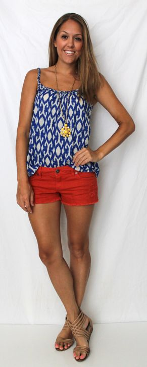 J's Everyday Fashion: Today's Everyday Fashion: July 4th   Cute outfit, love the print of the top!