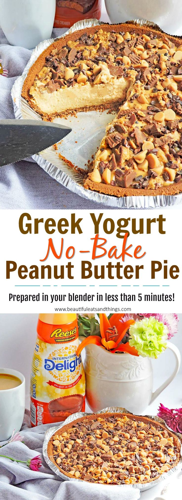 No-Bake Greek Yogurt Peanut Butter Pie  – Yum- Dessert