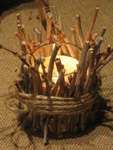 Twig votive candles! Yet another super-cute addition to my birch tree themed wedding reception.