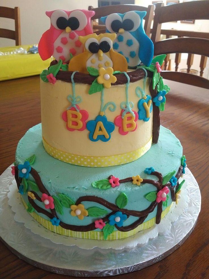 Owl themed baby shower cake.